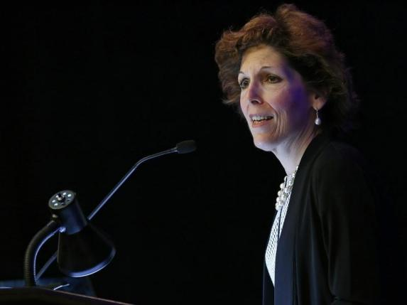 Cleveland Federal Reserve President and CEO Loretta Mester gives her keynote address at the 2014 Financial Stability Conference in Washington